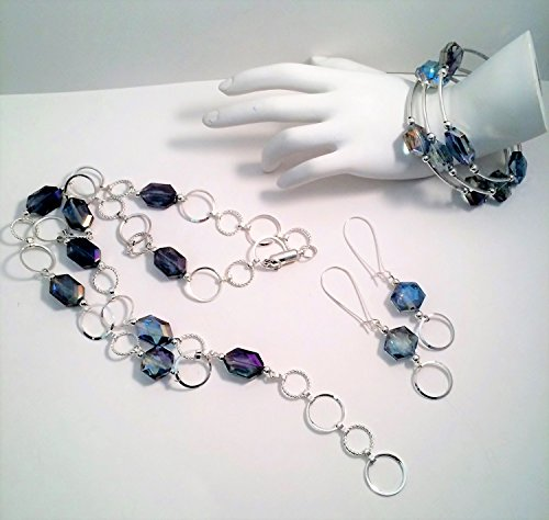 Faceted Crystal Oval Link Y Necklace, Earring and Wire Wrapped Bracelet Set, 24