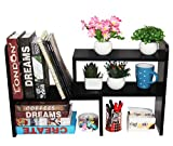 PAG Desktop Bookshelf Adjustable Countertop Bookcase Office Supplies Wood Desk Organizer Accessories Display Rack, Black