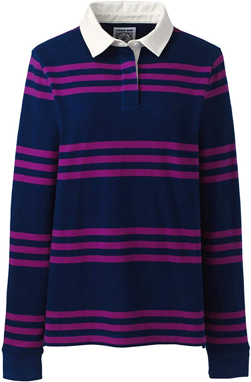 Lands End Womens Long Sleeve Polo Rugby Shirt Stripe