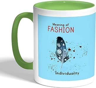 كوب سيراميك للقهوة MEANING OF Fashion بطبعة ، لون اخضر