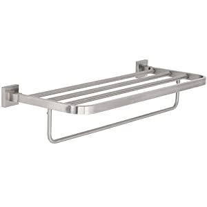 Modern Flat Brushed Nickel Towel Rack | Clean Lines & Premium Quality Stainless Steel Towel Shelf with Hanging Bar | Satin Finished Wall Mounted Contemporary Design | Bathroom or Closet