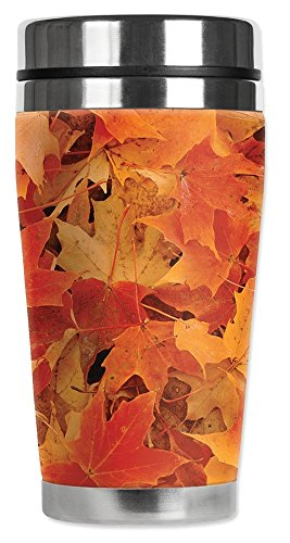 Mugzie® brand 16-Ounce Travel Mug with Insulated Wetsuit Cover - Fall Leaves