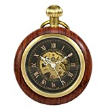 Treeweto Wooden Mechanical Roman Numerals Pocket Watch Open Face Fob Watch for Men Women