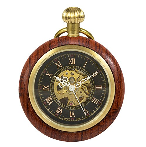 (TREEWETO Wooden Mechanical Roman Numerals Pocket Watch Open Face Fob Watch for Men Women)