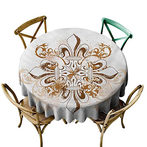 Wendell Joshua Tablecloth 60 inch Fleur De Lis,Ancient Antique Heraldry Symbol Vintage Floral Swirls Traditional Old Fashion,Brown White Printed Indoor Outdoor Camping Picnic Circle Table Cloth