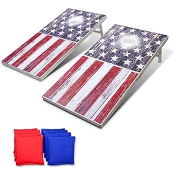 Image of GoSports LED American Flag Cornhole Set, Regulation Size