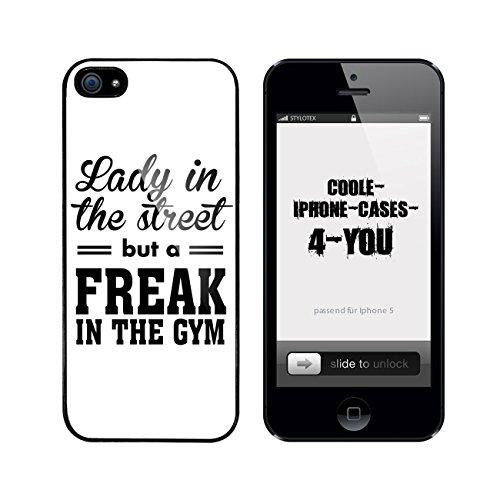 Iphone 5 / 5S Schutzhülle Lady in the Street but a freak in the Gym - schwarzer Rahmen