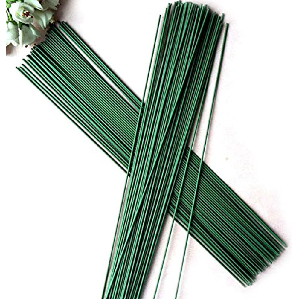 50 Pcs 2# Green Floral Tape Iron Paper Wrapped Wire Artificial Flower Stub Stem Handmade DIY Craft 16 Inches//40cm