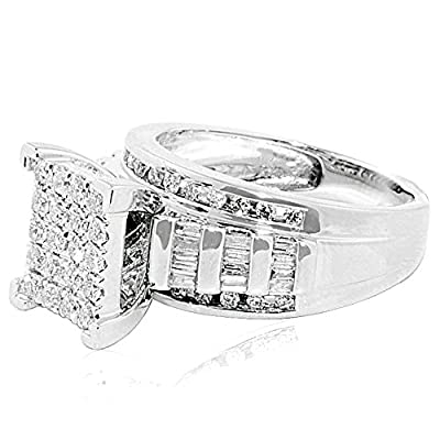 7/8cttw Diamond Wedding Ring 3 in 1 Style Engagement & Bands White or Yellow Gold (I2/i3, I/j)