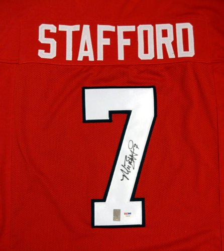 GEORGIA BULLDOGS MATTHEW STAFFORD AUTOGRAPHED RED JERSEY PSA/DNA STOCK #64801 by MillCreekSports