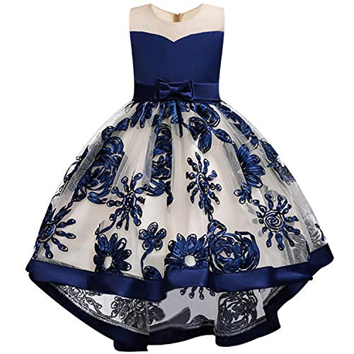 Girls Dress Kids Embroidery Party Princess Dresss Clothes Christmas Costumes for Children Girls,D0391-Navy,5]()