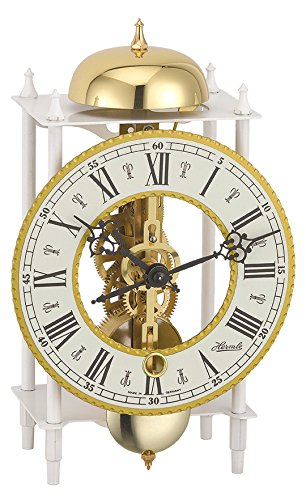 Hermle Mechanical Table Clock with Skeleton Movement - White -  23005-000711