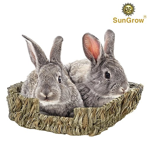 SunGrow Portable Grass Bed – Hand-Made with Natural Grass: Provides Paws Protection & Relaxation : Lightweight, Durable, Safe & Comfortable for Rabbits, Chinchillas, Guinea Pigs & Other Small Animals