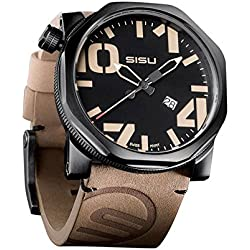 SISU Bravado Q1 Quartz Men's Watch, Black Dial, Leather Strap (Model: BQ1-50-LT)