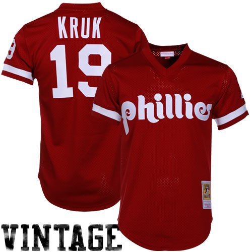 (John Kruk Philadelphia Phillies Mitchell & Ness Authentic 1991 Batting Pratice Jersey)