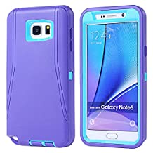 MOONCASE Galaxy Note 5 Case, 3 Layers Heavy Duty Defender Hybrid Soft TPU +PC Bumper Triple Shockproof Drop Resistance Protective Case Cover for Samsung Galaxy Note 5 -Purple Blue