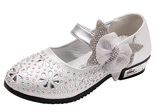 La Vogue Girl Round Toe Sparkle Mary Jean Side Bow Strap Princess Dress Shoes Low Heeled Silver 12 - Vogue Wear Eye