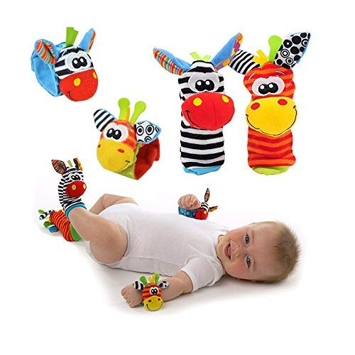 Snuggle Bug Cute Baby Wrist Rattle Socks with Multicolor 3D Animal Rattle Toys Designs - Perfect Educational Development Soft Foot Finders for Infant and Babies