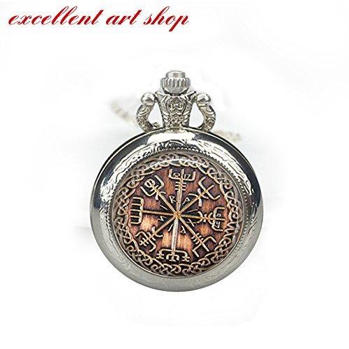 Viking pocket watch Vegvisir Rune necklace Occult pendant Charm - 15 Jewels Watch Pocket