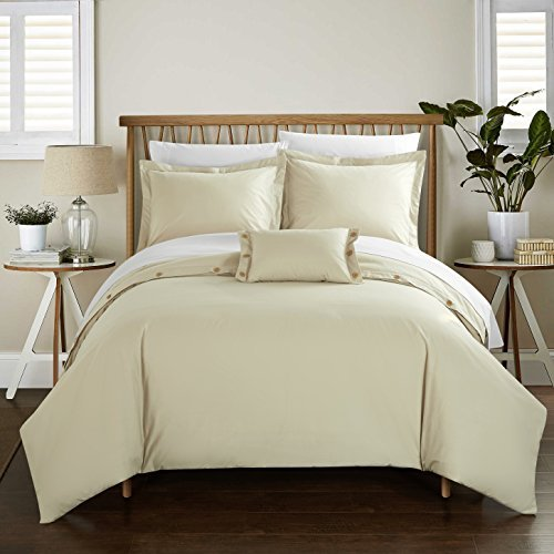 Chic Home 4 Piece Hartford 200 Thread Count Combed Finish 100% Cotton Twill Weave Button Closure Detail King Duvet Cover Set Beige Shams and Decorative Pillows Included ()