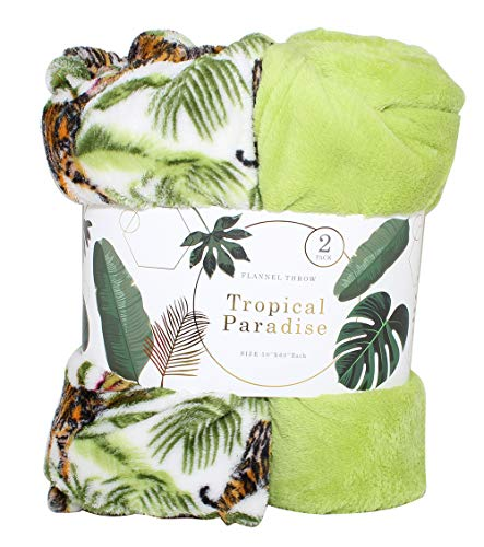 SILVER ONE Luxury 2-Pack Tropical Faux Fur Throw Plush All Season Decorative Blanket for Bed or Couch   50