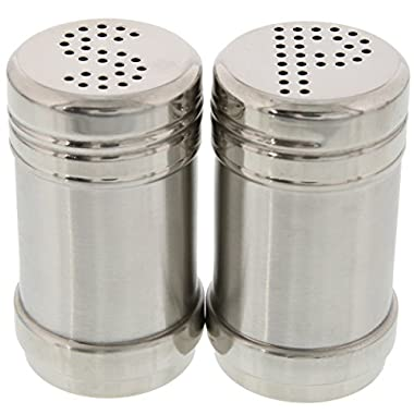 Salt and Pepper Shakers - Modern Stainless Steel Salt and Pepper Shakers - 3.5 Inch