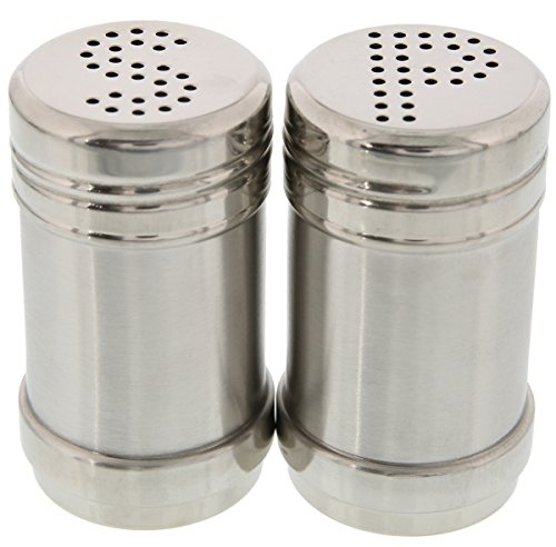 (Juvale Salt and Pepper Shakers - Modern Kitchen Stainless Steel Salt and Pepper Shakers - 3.5 Inch)