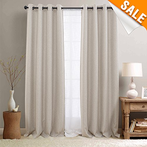 Faux Linen Room Darkening Curtains for Bedroom, Light Reducing Grommet Top Window Treatments (One Pair, 50