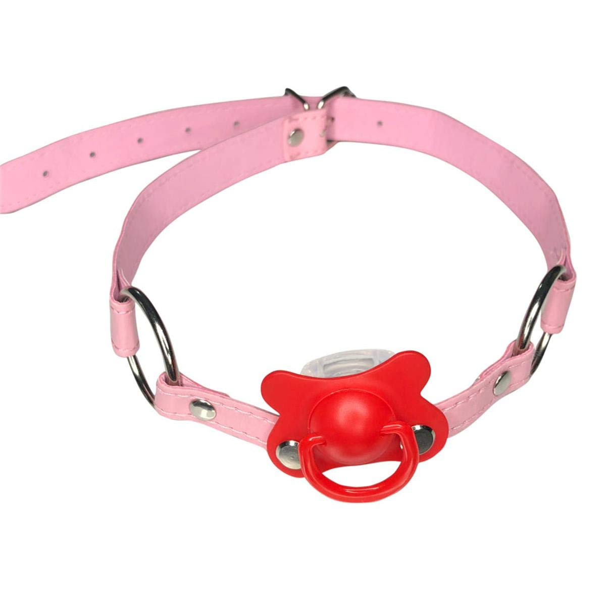 DDLG/ABDL Adult Baby Pacifier Gag With Choker Collar Pink