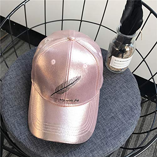 unique hat cap women girls spring xiasi satin cap embroidered base feather pattern men casual turn-brimmed tide (pink [base letters feather 23]