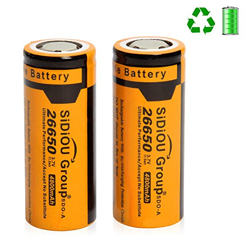 Sidiou Group 26650 Lithium Ion Battery Protected 3.7V 4800mAh Rechargeable Battery for LED flashlight torch (A Set of 2 Pieces)