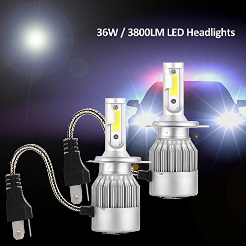 LED Headlights Four-sided LED Car Headlamps Bulbs Conversion Kit Fog Lignts - Plug and Play (H4) (Polar Copper Mirror)