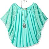 Speechless Big Girls' 7-16 Circle Top with Necklace, Jade, S