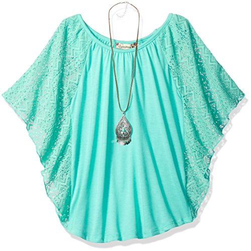 Speechless Girls' Big 7-16 Circle Top with Necklace, Jade, M