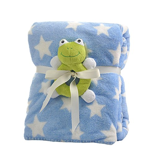 Baby Plush Blanket Security Blanket Double Layer Star Print Sherpa Coral Fleece 30x40 INCH (blue) - Blue Star Ltd