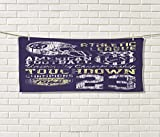 Sports,Sports Ttowel,Retro Style American Football College Theme Illustration Athletic Championship Apparel,Absorbent Towel,Purple Size: W 12'' x L 35.5''
