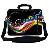 Meffort Inc 15 15.6 inch Neoprene Laptop Bag Sleeve with Extra Side Pocket, Soft Carrying Handle & Removable Shoulder Strap for 14' to 15.6' Size Notebook Computer - Rainbow Music Note