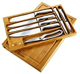 8 Piece Hollow Handle Knife Set – Includes Chef Knife, Bread Knife, Carving Knife, Santoku Knife, Utility Knife, Paring Knife, Scissors, With Bamboo Block – By Elko Professional