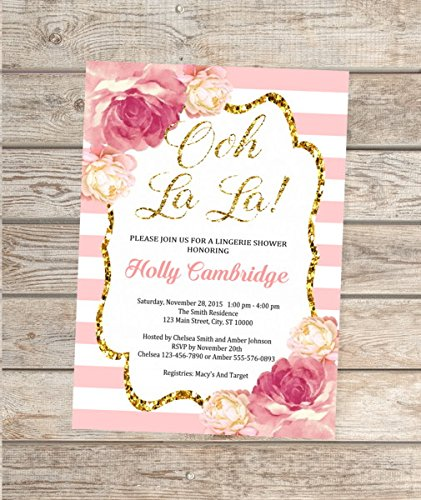 Amazon lingerie bridal shower invitation pink and gold bridal lingerie bridal shower invitation pink and gold bridal shower invitations stripes and peonies invitations filmwisefo