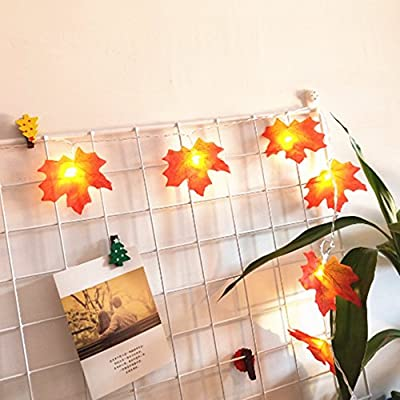 Decorations Lighted Fall Garland,FANSIR Maple Leaf String Lights,Shades of Orange and Yellow Leaves with 8.2 Feet 20 LED Lights,Perfect Christmas Gift (Warm white)