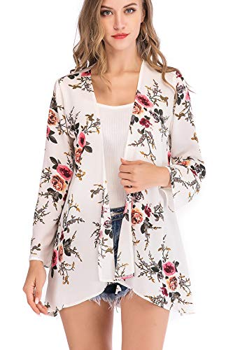 PopStore Women's Long Sleeve Cardigan Capes Kimono Cardigans Floral Print Sheer Chiffon Loose Casual Cover up Tops ()