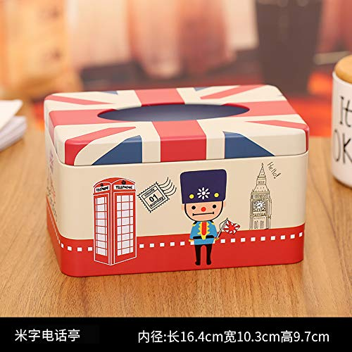 T-ZJHC Sanitary Tissue Box roll Paper Home Living Room Restaurant European Restaurant Facial Tissue Paper Box, Watermelon red Rice Word Phone Booth ()
