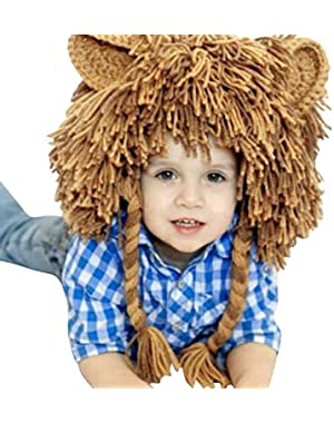 Kids Winter Animal Lion Knitted Trooper Hat Beanie Funny Christmas Caps