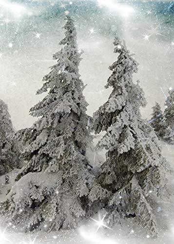 雪の森 バックドロップ クリスマス 冬 秋 月を覆う雪 地面 漫画 夜の森 パーティー 装飾 プリント 生地 写真 背景 5` wide by 7` tall GJ-25