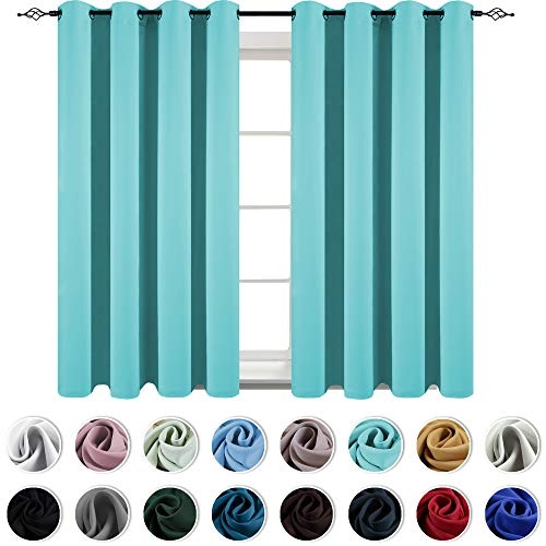 KEQIAOSUOCAI Living Room Turquoise Curtains 63 Inch Thermal Insulated Grommets Blackout Drapes for Bedroom 2 Panels 52x63 (Turquoise Drapes Curtains)