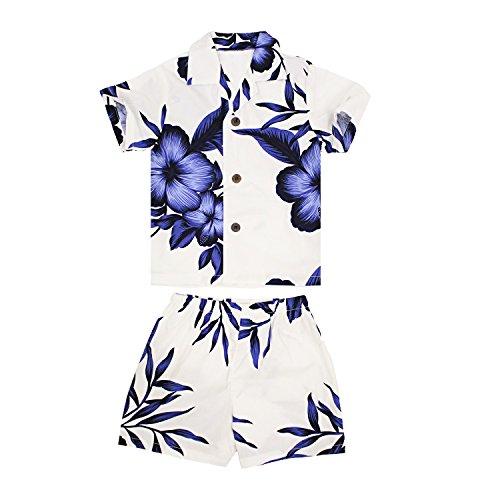 Palm Wave Boy Hawaiian Aloha Luau Shirt and Shorts 2 Piece Cabana Set In White Navy Floral 8