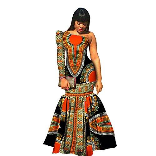 African Print Dresses One-Shoulder Long Sleeve Mermaid Dashiki Maxi Skirt  Women Fabric