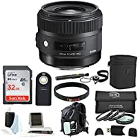 Sigma 30mm f/1.4 Art DC HSM Lens for Nikon DSLR Cameras w/ 32gb Essential Photo & Travel Bundle