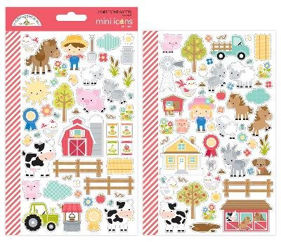 Doodlebug 5914 Down On The Down On The Farm Icons Mini Cardstock Stickers, Multicolor Doodlebug Design Cardstock Stickers