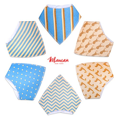 6-Pack Baby Bandana Drool Bibs for Drooling and Teething, 100% Organic Cotton, Soft and Absorbent, Hypoallergenic Bibs for Baby Boys- Baby Shower Gift Set (Blue)